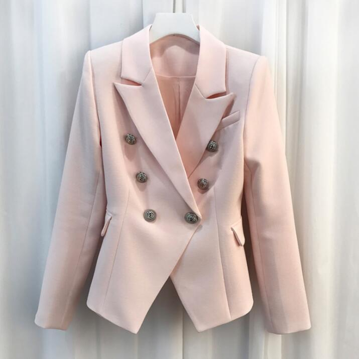 Elegant Blazer For Women Suit Jacket Coat 2019 New Double Breasted High Quality Brand Runway Designers Blazer Femme Clothes Top