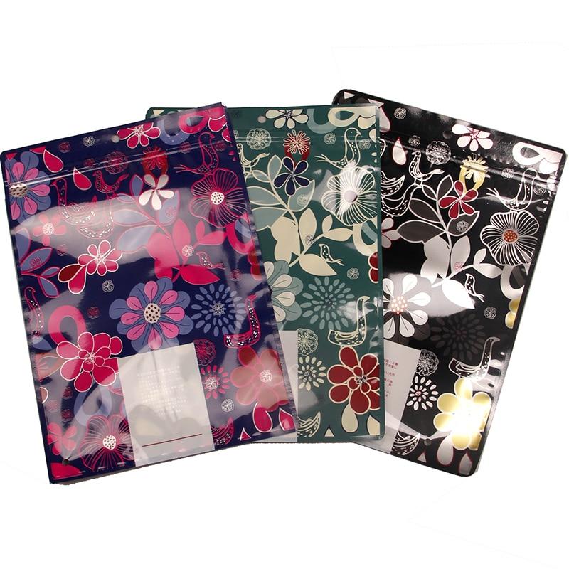 Cremallera de Color Ziplock transparente de impresión de ventana con cremallera de plástico bolsa de embalaje ropa sombrero de hueso medias Toalla de baño bufanda Pantalones - 2