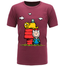 Big Discount New Cartoon Tee Shirts Adventure Time Jake Finn Videogame Peanut Parody Funny Anime Tshirts Boy Men Clothing Shirt