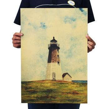 Forever promise Lighthouse good view kraft paper bar poster Retro Poster decorative painting 51x35.5cm image