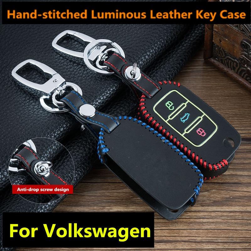 Luminous 3 Buttons Leather Car Flip Key Cover Remote Fob Holder Case Shell For VW Volkswagen Jetta Golf 4 5 6 Polo Bora Passat B