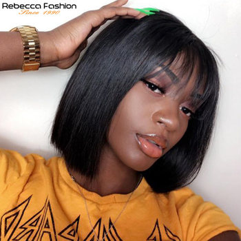Short Pixie Cut Bob Wig Peruvian Remy Straight Short Human Hair Wigs For Women Full Wig Black Color Human Hair Bangs Wig Rebecca wig with bangs short bob wig brazilian straight human hair wigs with bangs pixie cut wig for black women natural color remy hair