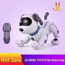Le neng brinquedos k16a eletrônico animais de estimação rc robô cachorro voz controle remoto brinquedos música música brinquedo para crianças rc brinquedos presente aniversário
