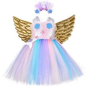 Image 5 - Kızlar Unicorn Pony kostüm kafa bandı ile Tutu elbise çiçek pullu prenses kız parti elbise çocuk çocuklar Unicorn kostümleri yeni