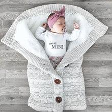 Baby Winter Thick Knitted Sleeping Bag Infant Imitation Cashmere Liner Sleepsack Newborn Swaddle Wrap Toddler Stroller Blanket