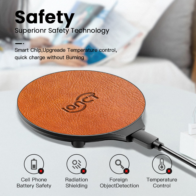 Image 5 - iONCT 10W Fast Wireless Charger for iPhone 11 pro X XR XS wirless Charging for Samsung phone USB qi charger wireless leather pad