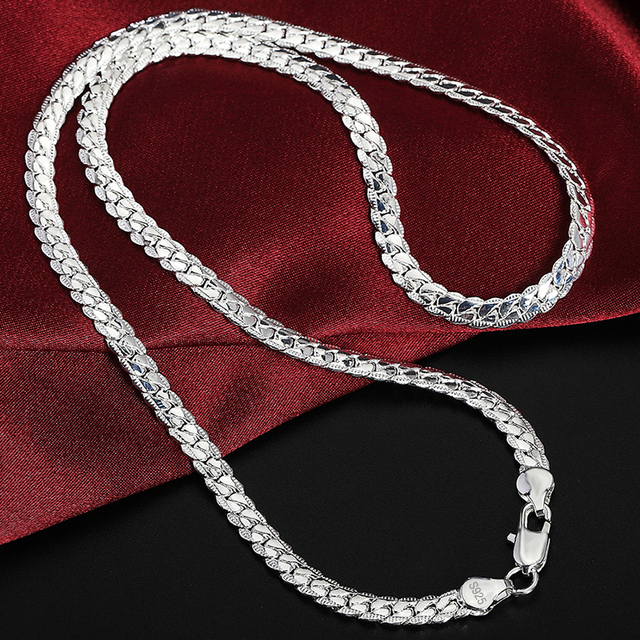 2 Piece 6MM Full Sideways 925 Sterling Silver Necklace Bracelet Fashion Jewelry For Women Men Link Chain Sets Wedding Gift 5