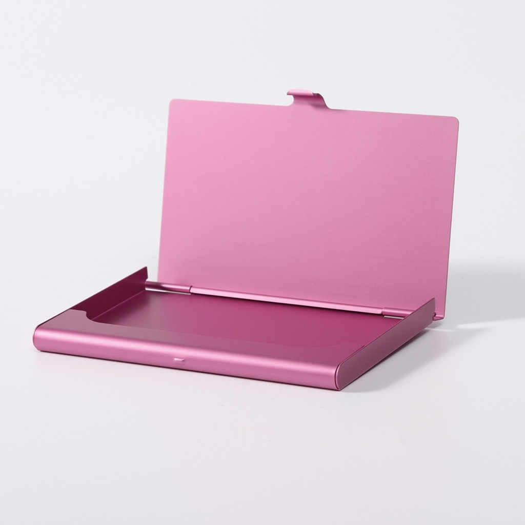 Kredi kart tutucu yaratıcı tutucu Metal kutu kapağı kimliği kredi çoklu kart Case paslanmaz çelik kutular iş kart tutucu