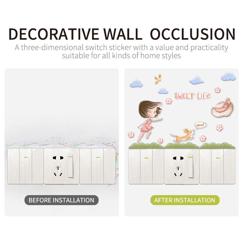 3D light switch wall stickers for kids rooms decoration Wall bedroom home decoration stickers in Wall Stickers from Home Garden