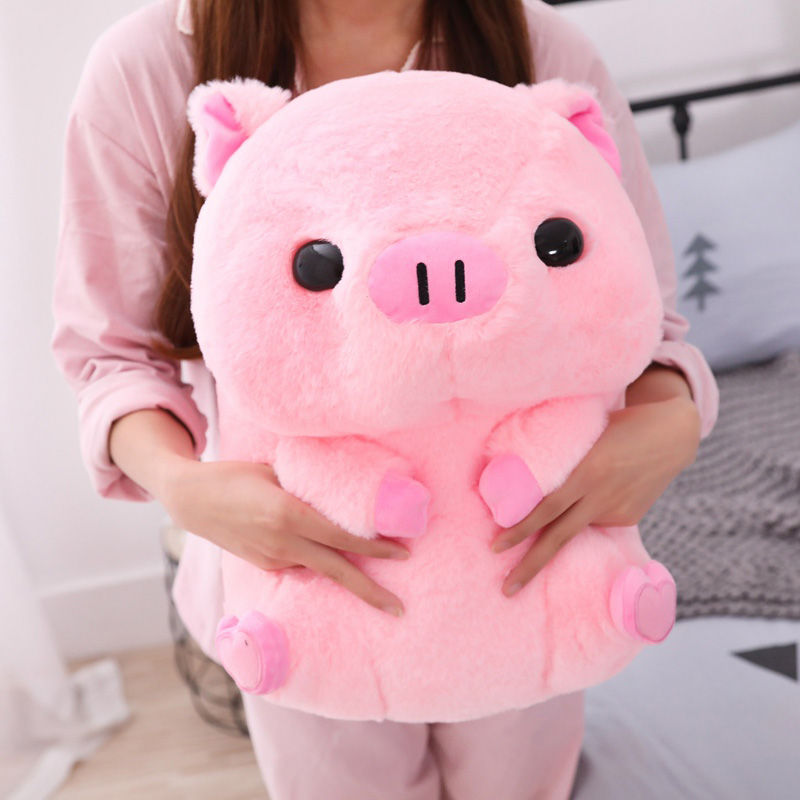 Pink Sitting Pig Big Head Piggy Stuffed Doll Kids Huggable Animal