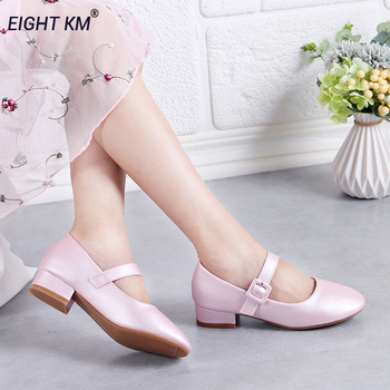 EIGHT KM Fantasy Mary Jane Low-Heeled Shoes Kids Leather Dress Formal Wedding Party Shining Princess Shoes Hook&Loop for Girls цена 2017