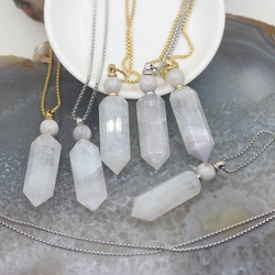 Natural White Agates Geode Druzy Hexagon Prism Perfume Bottle Pendant Chains,Gems stone Essential Oil Diffuser Point Vial Charms