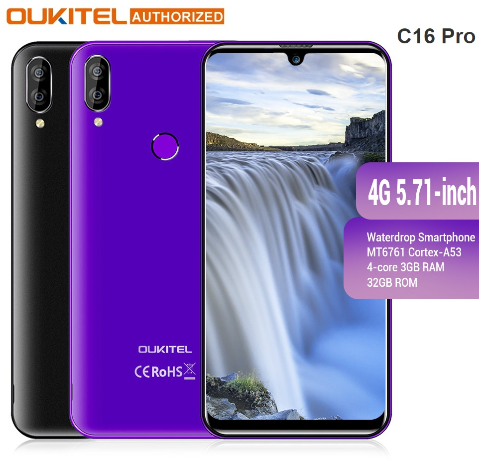 OUKITEL 4G LTE Mobile Phone C16 Pro 5.71 Inch Android 9.0 19:9 Waterdrop CellPhone MT6761P Quad 3GB RAM 32GB ROM Smartphone