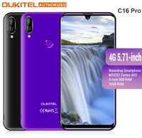 Téléphone portable OUKITEL 4G LTE C16 Pro 5.71 pouces Android 9.0 19:9 Waterdrop téléphone portable MT6761P Quad 3GB RAM 32GB ROM Smartphone