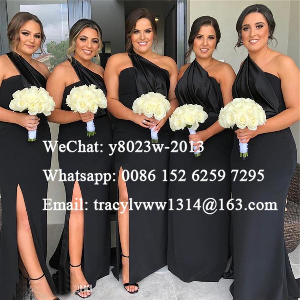 Black One Shoulder Long Bridesmaid Dresses Mermaid 2020 Women Sexy Side Split Wedding Party Dress Vestidos De Fiesta De Noche
