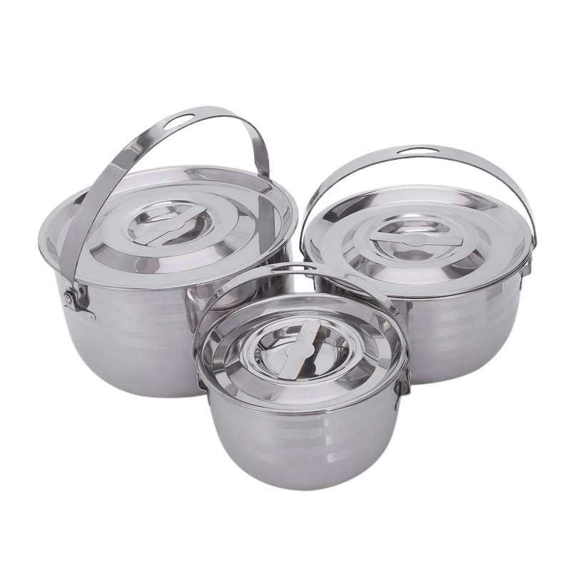 Camping Cookware Set Stainless Steel Compact Campfire Cooking Pots And Pans Rugged 3Pc Cook Set For Outdoor Hiking Barbecue
