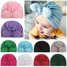2019 Baby cotton blends Headband Soft Bowknot Turban Hair Bands for Children Girls Elastic Headwrap Children Baby Turban(China)