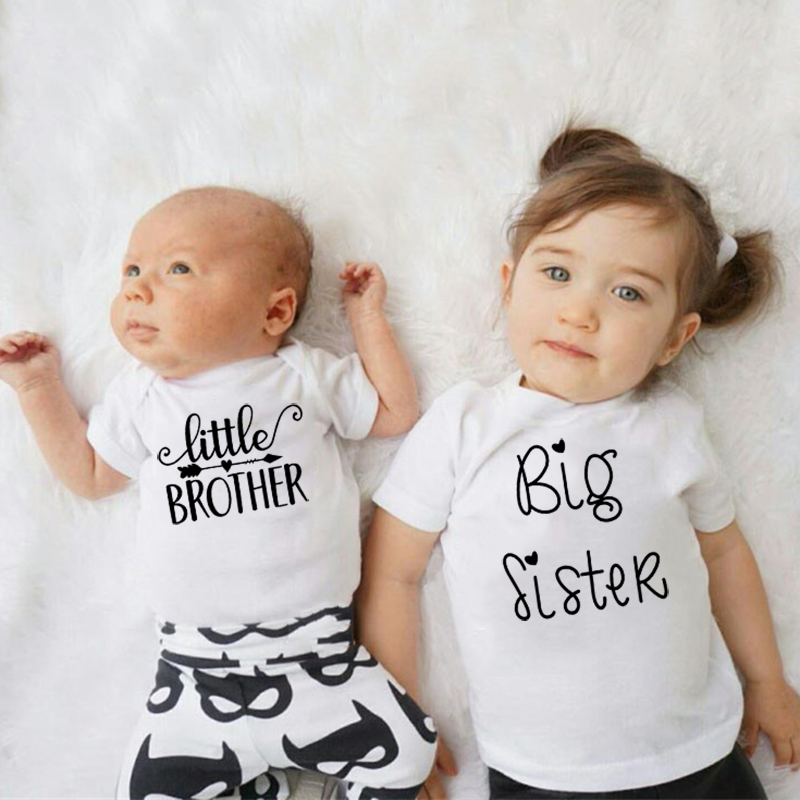 Hot Wholesale Cotton Little Brother Romper Big Sister Tshirt Family Matching Clothes Infant Baby Boys Girls Short Sleeve Outfit