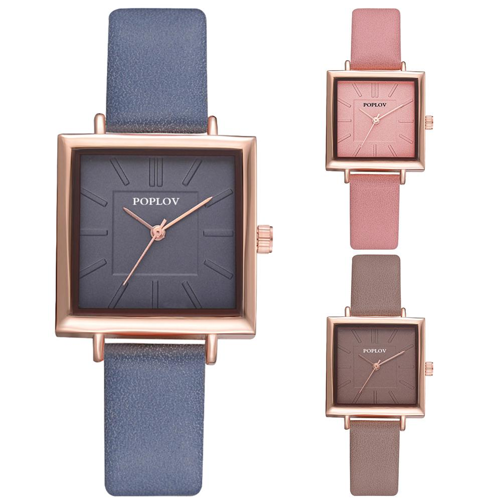 Minimalist Square Dial Analog Women Quartz Faux Leather Band Wrist Watch Gift New Ladies Dress Watches Gift Luxury