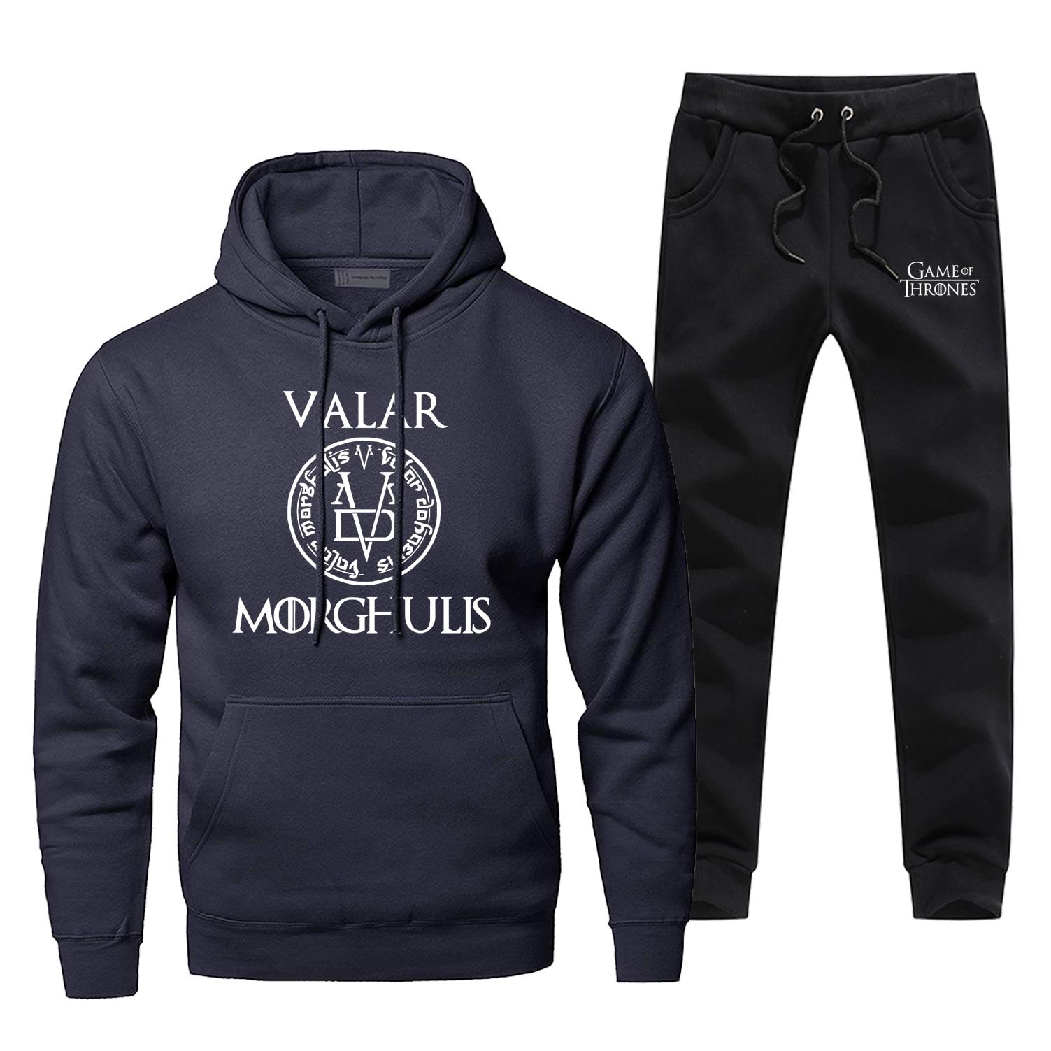 Valar Morghulis Game Of Thrones 2 Piece Set 2019 New Fashion Mens Sets Warm Complete Man Tracksuit Fleece Arya Stark Hoody Pants