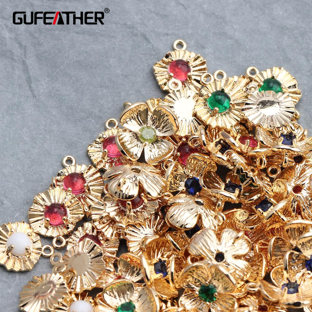 GUFEATHER M614,jewelry Accessories,18k Gold Plated,hand Made,jewelry Making,diy Zircon Pendant,jump Ring,diy Earring,10pcs/lot