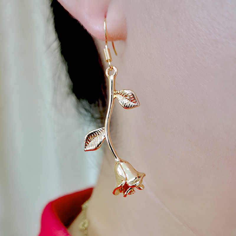 Mode Romantische Zarte Rose Blume Ohrringe Charme Gold Farbe Rose Schmuck Metall Äste Ohrringe Für Frauen Geschenk O5D331
