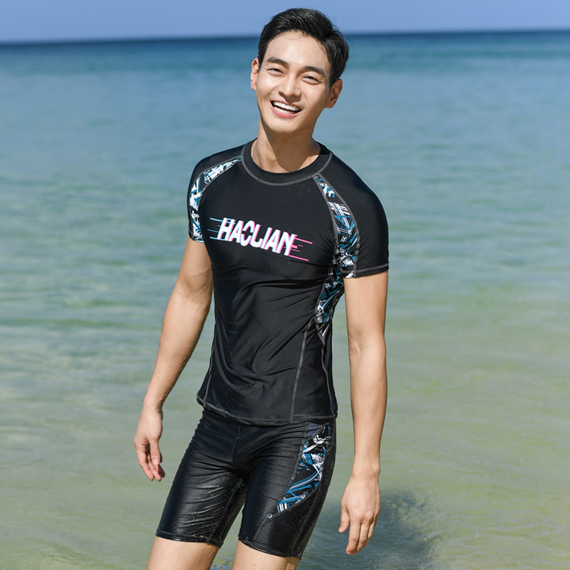 Hao Gay 2019 New Style Quick-Dry Sun-resistant Men Swimsuit Long Sleeve Short Trousers Swimming Trunks Men's Wholesale