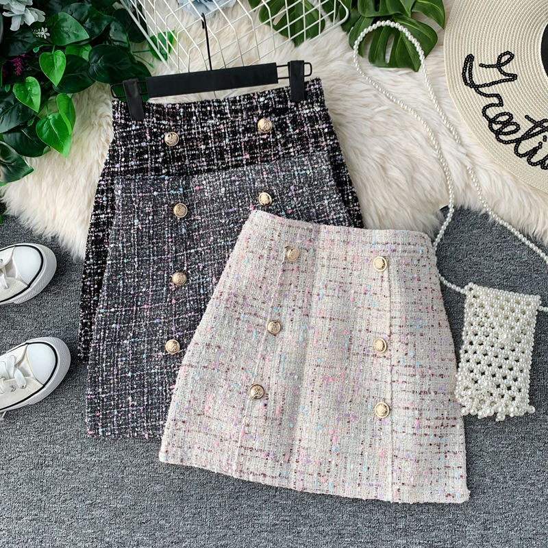 Women Tweed Skirt 2019 Korean Of Autumn/winter High Waist Slimming A Fashion Double-breasted Mini Skirt