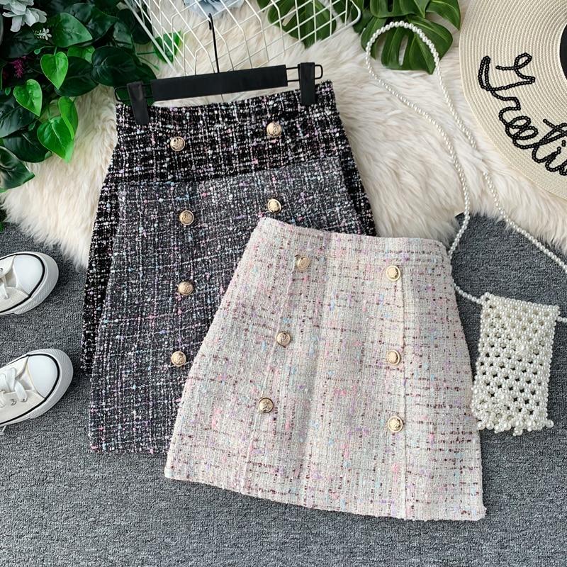 Women Tweed Skirt 2019 Korean Of Autumn/winter High Waist Slimming A Fashion Double-breasted Mini Skirt