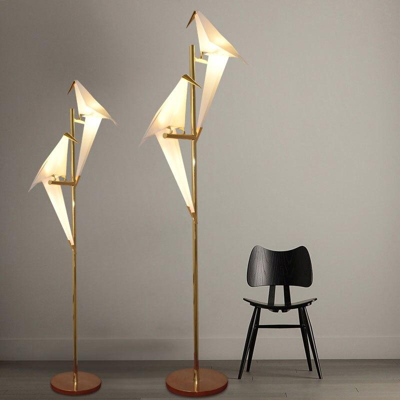 현대 종이 새 플로어 램프 골드 서 램프 led 스탠드 조명 거실 연구 침대 옆 램프 종이 접기 플로어 전등