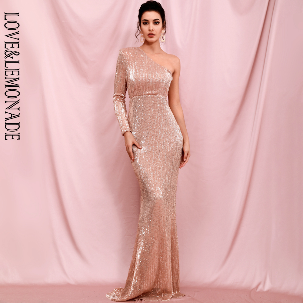 LOVE & LEMONADE Sexy Rose Gold Strapless Single Sleeve Bodycon Elastic Sequin Maxi Dress LM82393