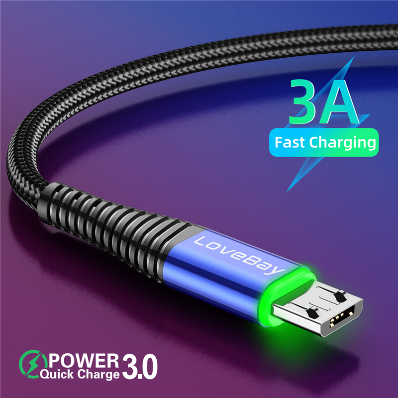 Lovebay LED 2M Micro USB Cable 3A QC 3.0 Quick Charge Wire For iPhone Xiaomi Android Mobile Phone Data Cable Cord Fast Charging
