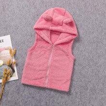 Детское пальто для новорожденных; зимнее пальто без рукавов для маленьких девочек; милая флисовая верхняя одежда с капюшоном и рисунком для малышей; Chaqueta infanil