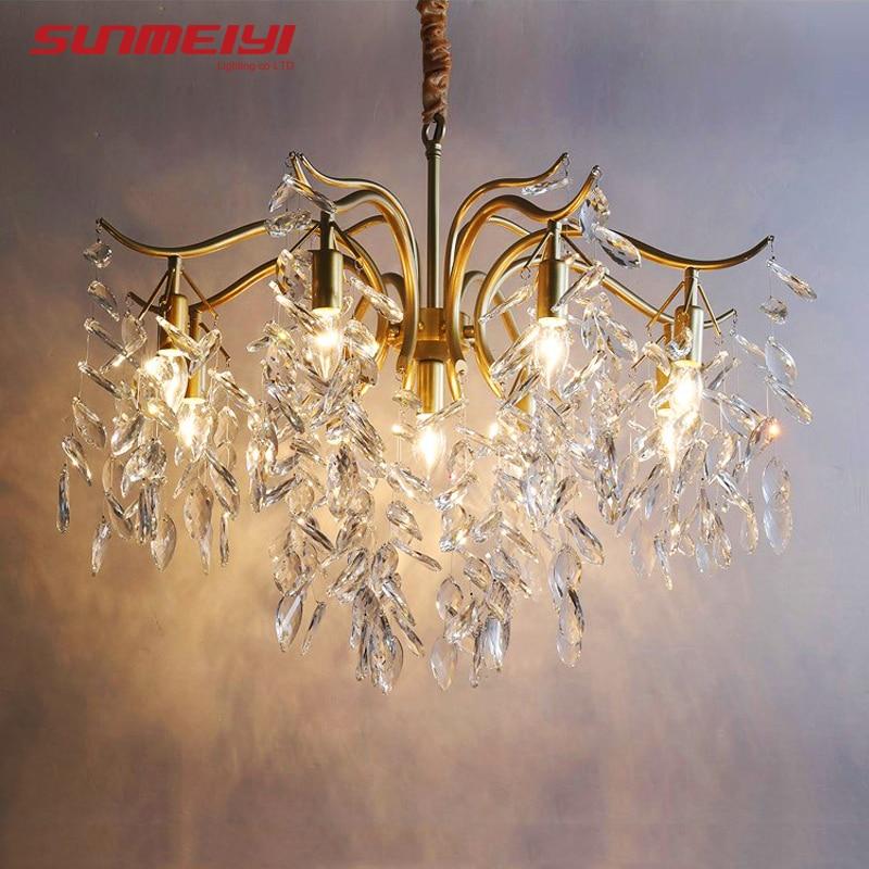 LED nordique lustres en cristal or noir lustre éclairage de luxe cuisine salle à manger salon chambre lampe lustre pendente - 5