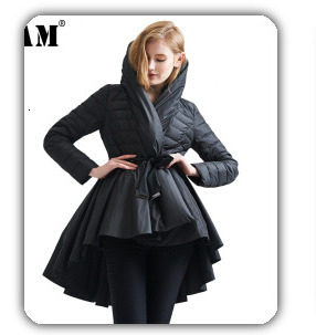 [EAM] 2019 New Winter Hooded Long Sleeve Solid Color Black Cotton-padded Warm Loose Big Size Jacket Women parkas Fashion JD12101 15