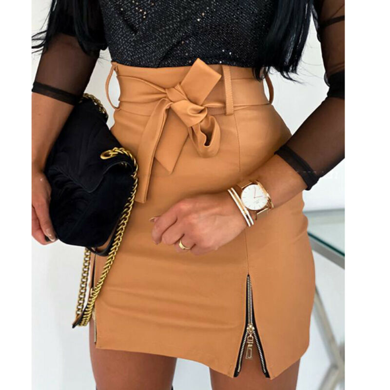 Autumn Winter OL Elegant Pencil Mini Skirts High Waist Black Bodycon PU Leather Split Sheath Wrap Skirts With Belt Female 2020