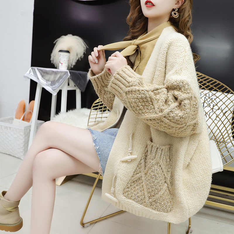 2019 Spring Autumn Women Sweater Coat Korean Embroidery Outerwear Female Loose All-match Knitted Cardigan Sweaters Large Size