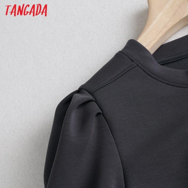 Tangada Women High Quality Gray Sweatshirts Puff Long Sleeve O Neck Loose Pullovers Female Tops 6D37