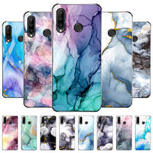 For Huawei P30 P40 Lite P20 Pro Case Tempered Glass Cover Huawei P Smart 2021 2019 Mate 20 Lite 40 Pro Watercolor Painting Cases