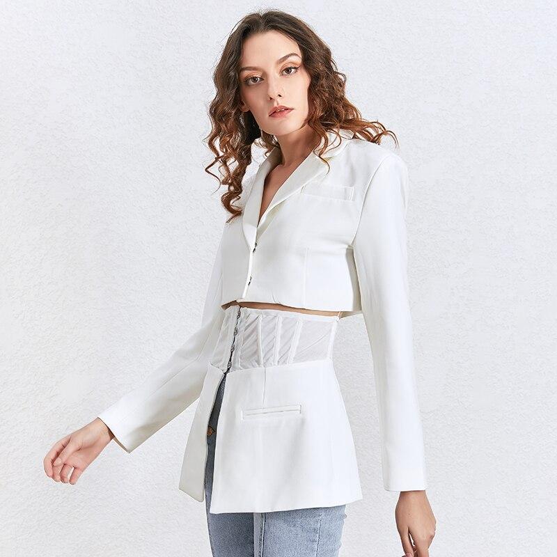 TWOTWINSTYLE coreano otoño blanco solapa de chaqueta túnica de manga larga Delgado traje femenino primavera nueva moda ropa 2020 - 3