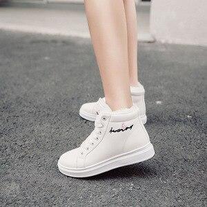 Image 1 - SWYIVY zapatos blancos para mujer, zapatillas de deporte de invierno, zapatos informales de plataforma, botas altas de invierno, botines femeninos, Top alto de piel de felpa 2019