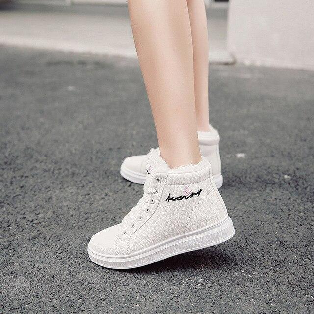 SWYIVY zapatos blancos para mujer, zapatillas de deporte de invierno, zapatos informales de plataforma, botas altas de invierno, botines femeninos, Top alto de piel de felpa 2019