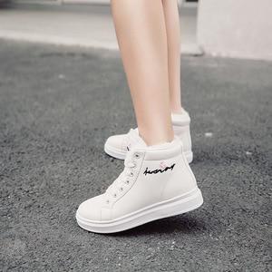 Image 1 - Белые зимние женские кроссовки SWYIVY, повседневная обувь на платформе, высокие зимние сапоги 2019, женские зимние высокие сапоги из искусственного меха