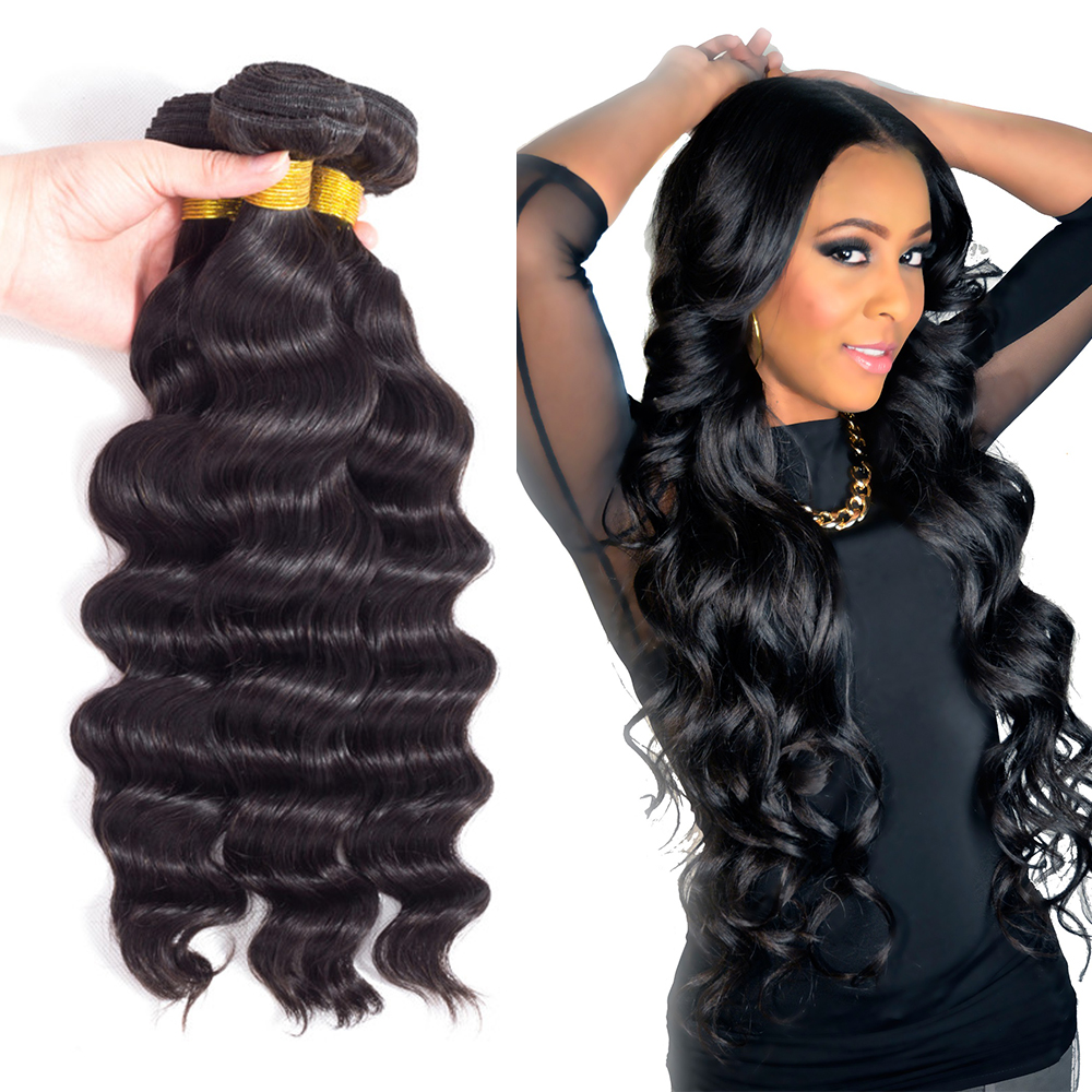 Loose Deep Wave Human Hair Extensions Brazilian Hair Weave 3 Bundles Natural Black Hair Extension 100% Remy Human Hair Bundles