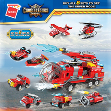 Mini Construction Educational Water Tank Fire Cannon Fire Truck Plane Building Blocks Bricks Figures Qman 1805 Gift Kids Toys large size 90pcs fire station fire engine model building blocks bricks fireman figure kids educational toys compatible duploe