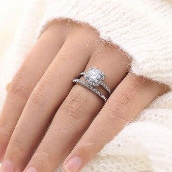 Anillo De oro blanco De 14 K con gema De moissanita Natural para mujer, sortija lisa De oro blanco De 14 K, Anillos y joyas para boda