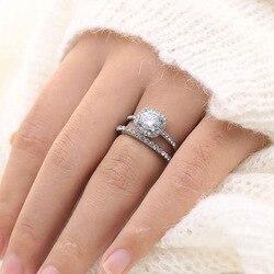 Natural Moissanite Bizuteria Gemstone 14 K White Gold Ring for Women Solid 14K White Gold Anillos De Wedding Jewelry Rings Box