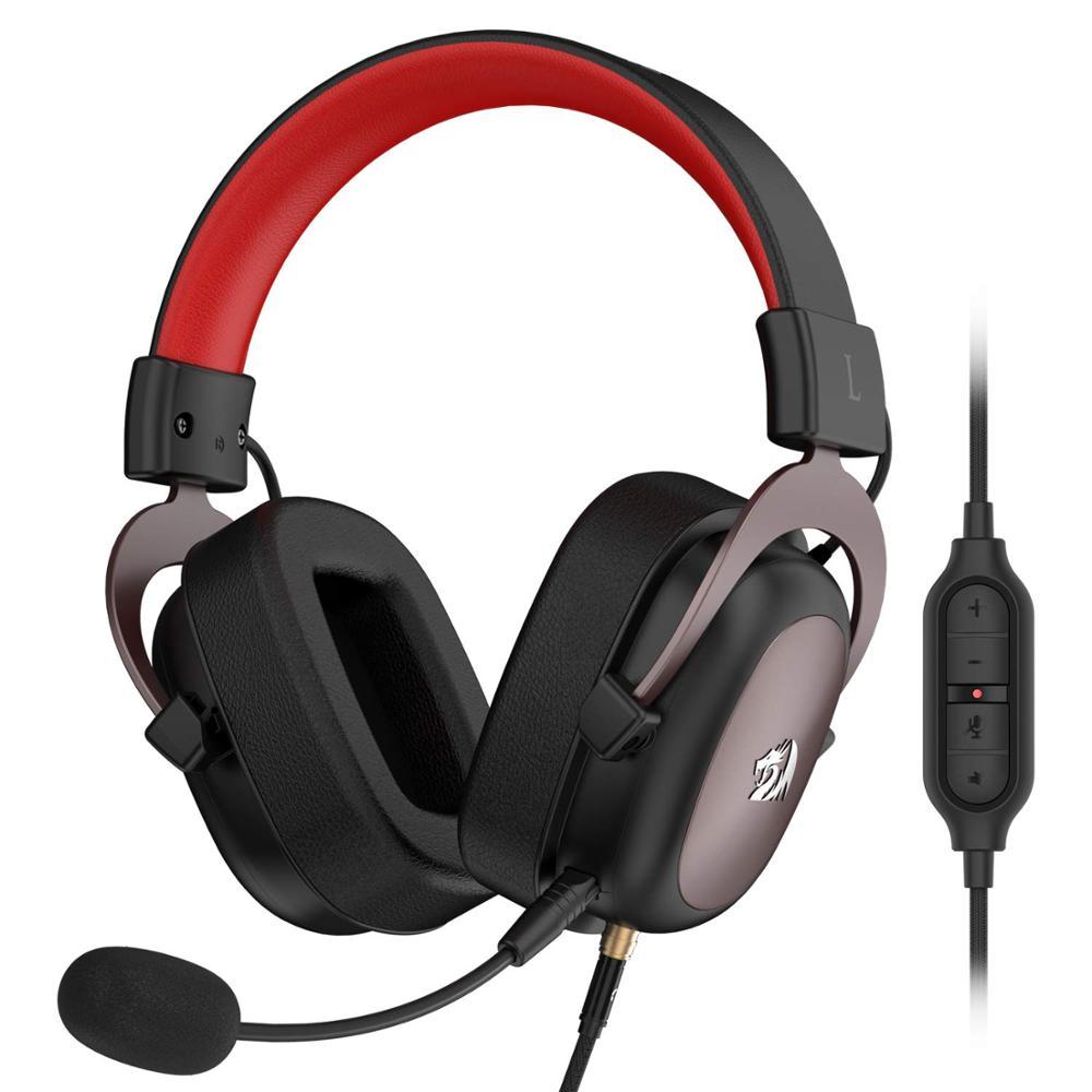 Redragon h510 zeus wired gaming headset 7.1 surround-sound fone de ouvido gamer com microfone destacável para computador, ps4, xbox um, interruptor