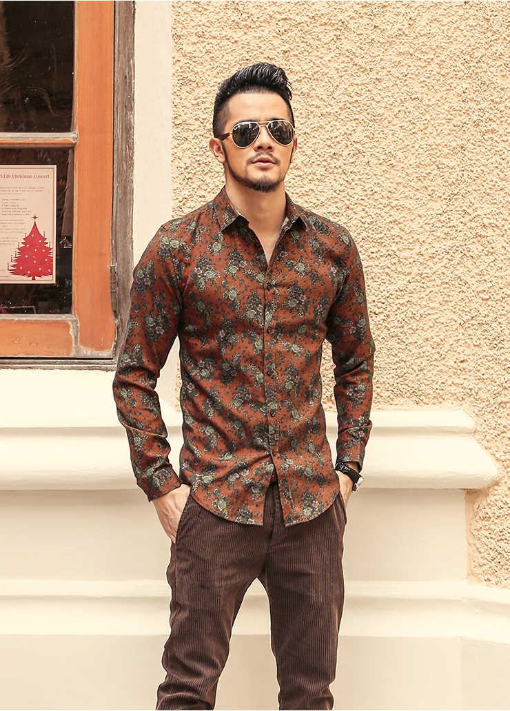 2020 neue männer Silk Satin Floral Bedruckte Shirts Männlichen Slim Fit Langarm Blume Shirts Drucken Casual Party Shirt tops M-3XL
