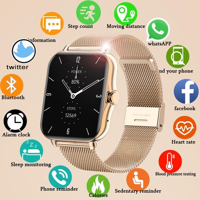 2021 Bluetooth-compatibleAnswer Call Smart Watch Women Men Full Touch Dial Call Fitness Tracker IP67 Waterproof Smartwatch women 1